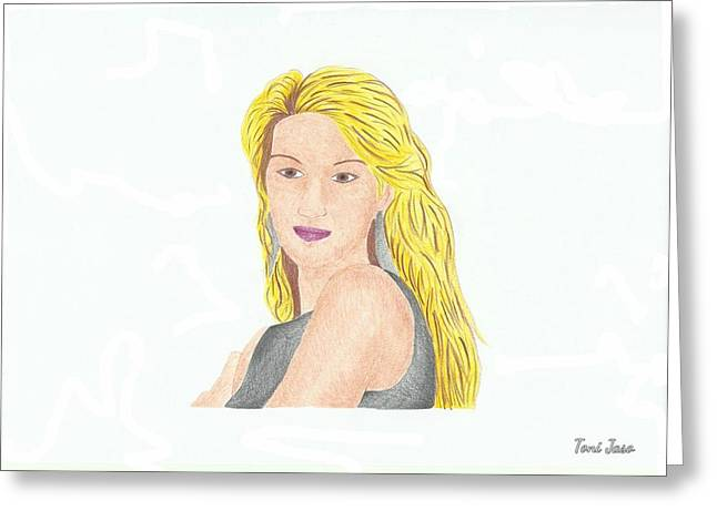 Celine Dion Greeting Card by Toni Jaso
