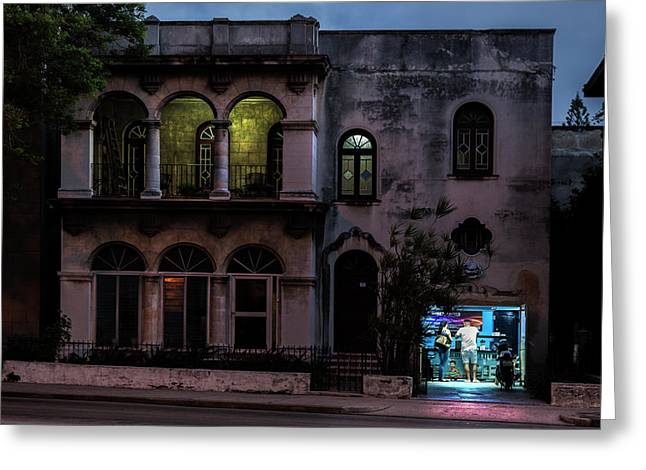 Greeting Card featuring the photograph Cell Phone Shop Havana Cuba by Charles Harden