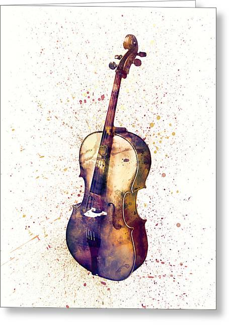 Cello Abstract Watercolor Greeting Card by Michael Tompsett