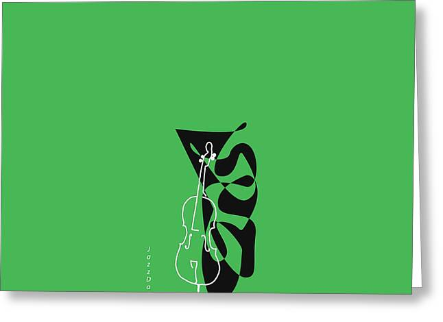 Cello In Green Greeting Card by David Bridburg