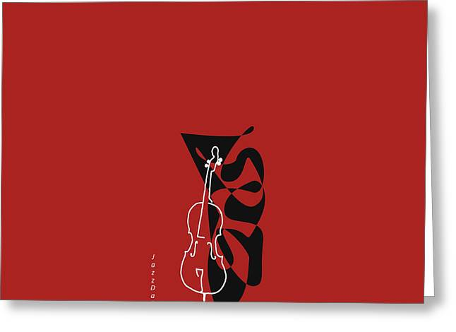 Cello In Orange Red Greeting Card by David Bridburg
