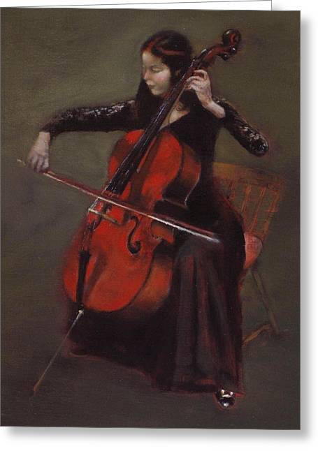 Cello Player Greeting Card by Takayuki Harada