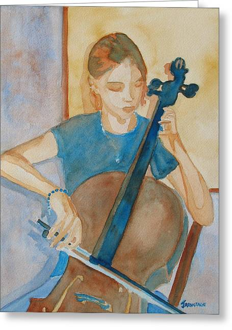 Cello Practice Iv Greeting Card by Jenny Armitage