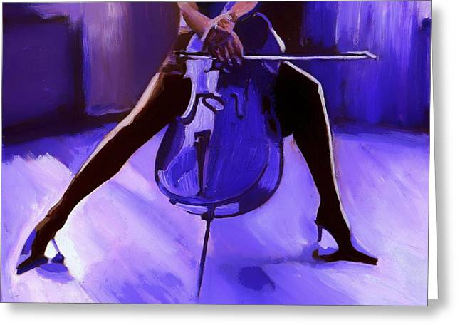 Cello Greeting Card by Vel Verrept