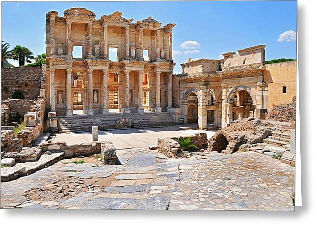 Celsus Library And Gate Of Augustus Greeting Card