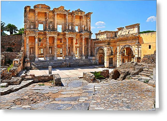 Celsus Library And Gate Of Augustus Poster Edge Effect Greeting Card