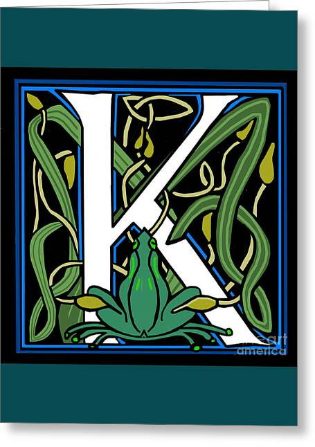 Celt Frog Letter K Greeting Card