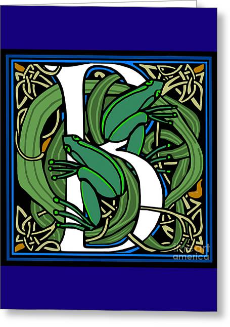 Celt Frogs Letter B Greeting Card