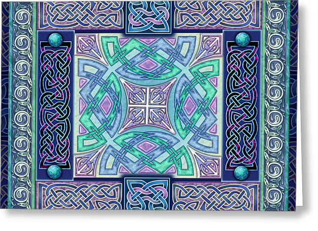 Greeting Card featuring the mixed media Celtic Atlantis Opal by Kristen Fox