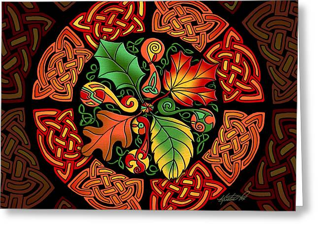Celtic Autumn Leaves Greeting Card