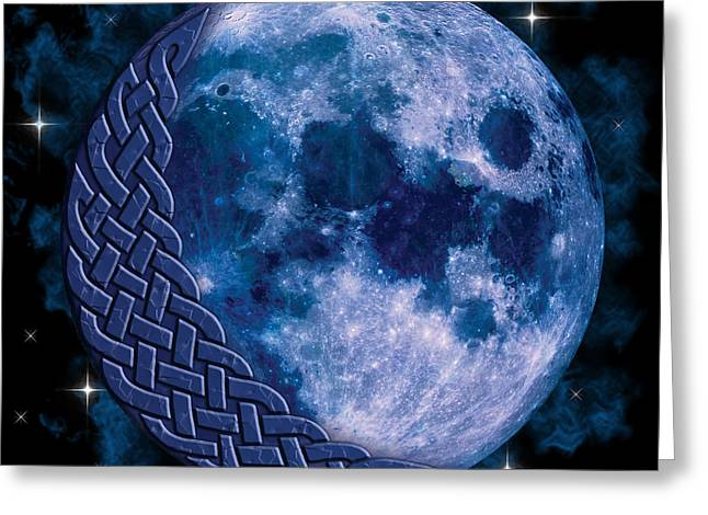 Greeting Card featuring the mixed media Celtic Blue Moon by Kristen Fox