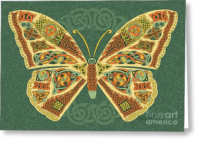 Greeting Card featuring the mixed media Celtic Butterfly by Kristen Fox