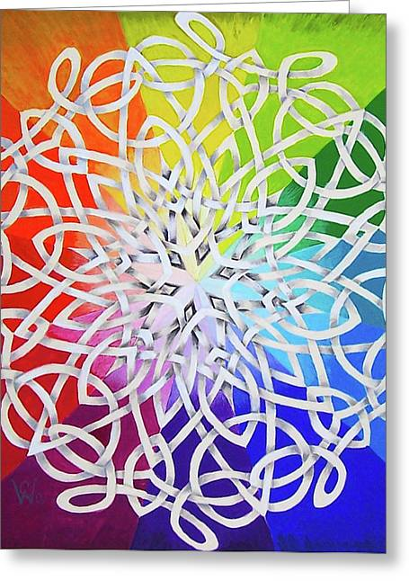Gouache Abstract Greeting Cards - Celtic Color Interlaced 1 Greeting Card by Carolyn Coffey Wallace