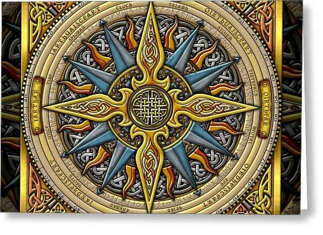 Greeting Card featuring the mixed media Celtic Compass by Kristen Fox