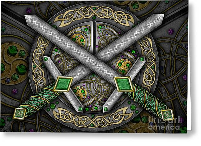 Greeting Card featuring the mixed media Celtic Daggers by Kristen Fox