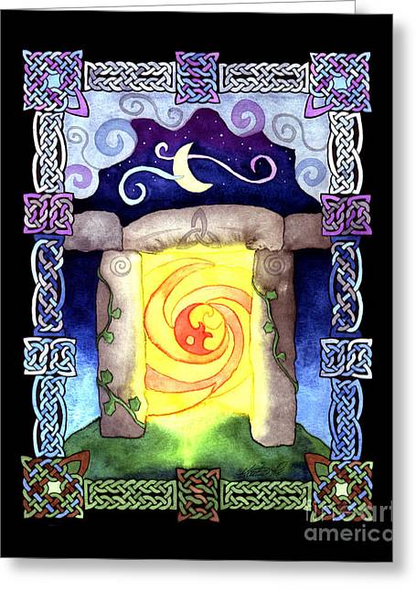 Greeting Card featuring the painting Celtic Doorway by Kristen Fox