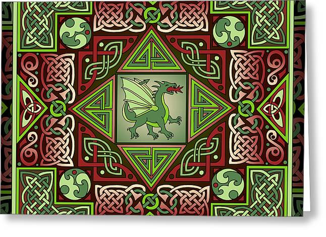 Greeting Card featuring the mixed media Celtic Dragon Labyrinth by Kristen Fox