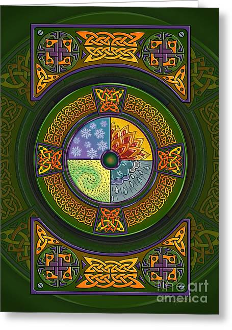 Greeting Card featuring the mixed media Celtic Elements by Kristen Fox