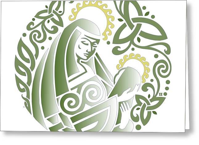 Celtic Green Madonna Greeting Card by Ishana Ingerman