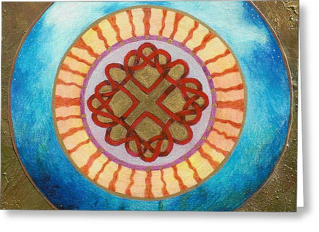 Celtic Heart Knot Mandala Greeting Card by Jo Thompson