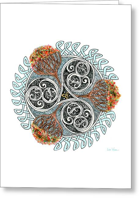 Greeting Card featuring the drawing Celtic Knot With Autumn Trees by Lise Winne