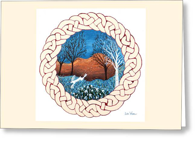 Greeting Card featuring the painting Celtic Knot With Bunny by Lise Winne