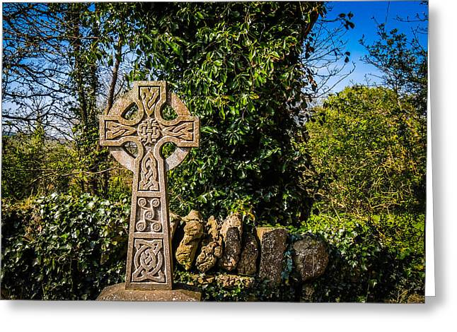 Celtic Knots Decorate A Celtic Cross Greeting Card