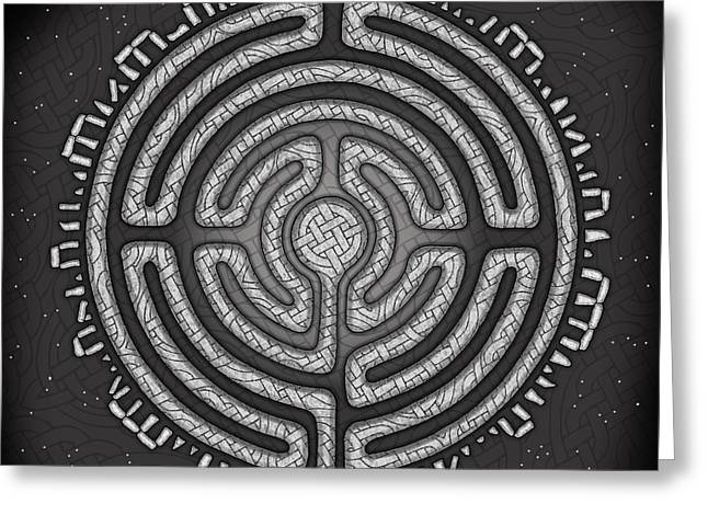 Greeting Card featuring the mixed media Celtic Labyrinth Mandala by Kristen Fox