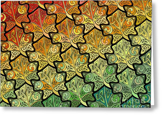 Greeting Card featuring the mixed media Celtic Leaf Transformation by Kristen Fox