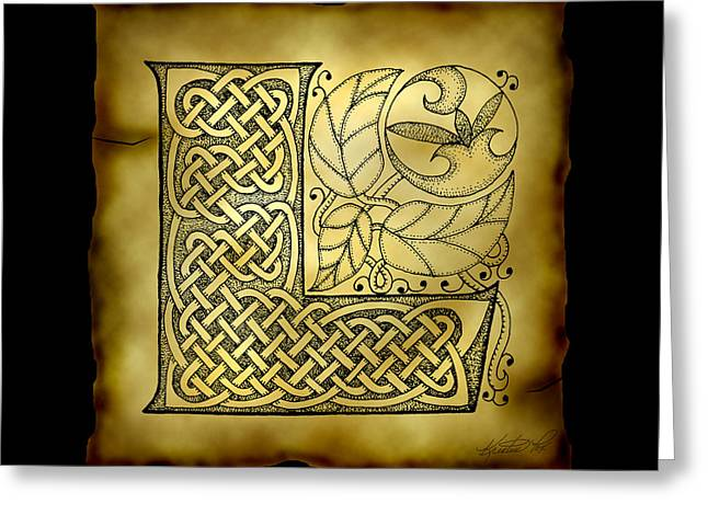 Celtic Letter L Monogram Greeting Card