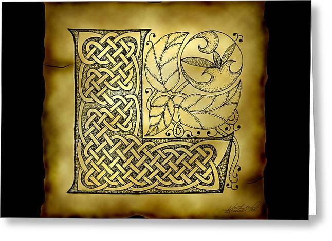 Celtic Letter L Monogram Greeting Card by Kristen Fox