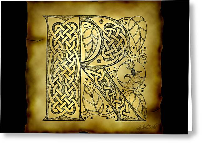 Hand Drawn Mixed Media Greeting Cards - Celtic Letter R Monogram Greeting Card by Kristen Fox