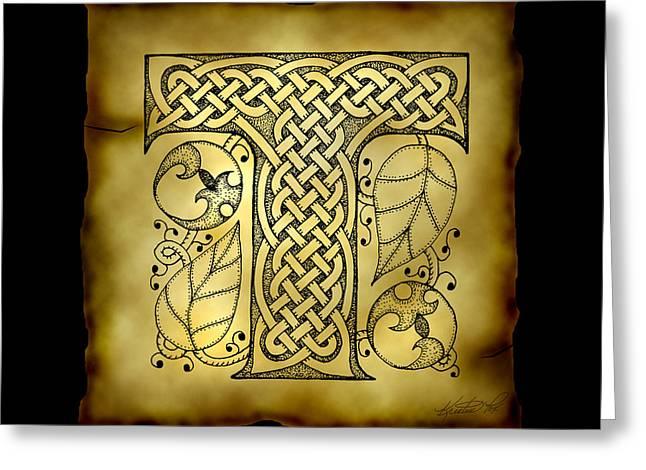 Celtic Letter T Monogram Greeting Card by Kristen Fox