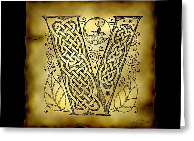 Celtic Letter V Monogram Greeting Card by Kristen Fox