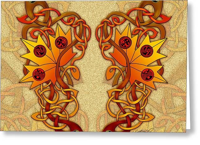 Greeting Card featuring the mixed media Celtic Loose Leaves by Kristen Fox