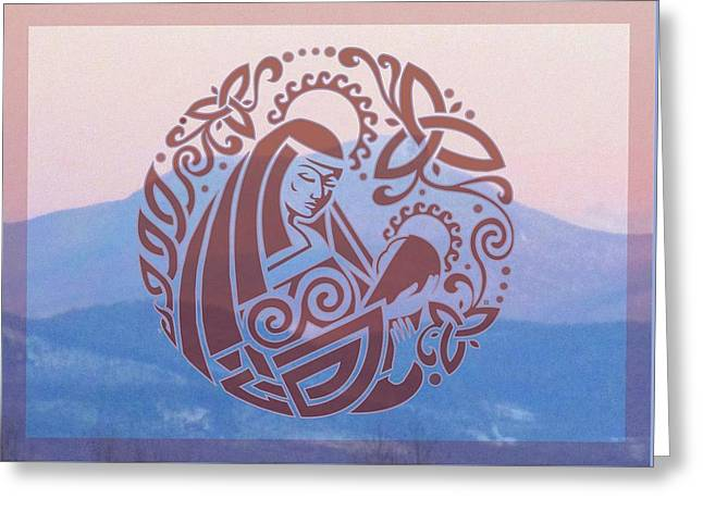 Celtic Madonna Over A Mountain Greeting Card by Ishana Ingerman