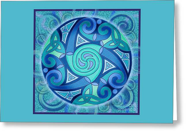 Greeting Card featuring the mixed media Celtic Planet by Kristen Fox