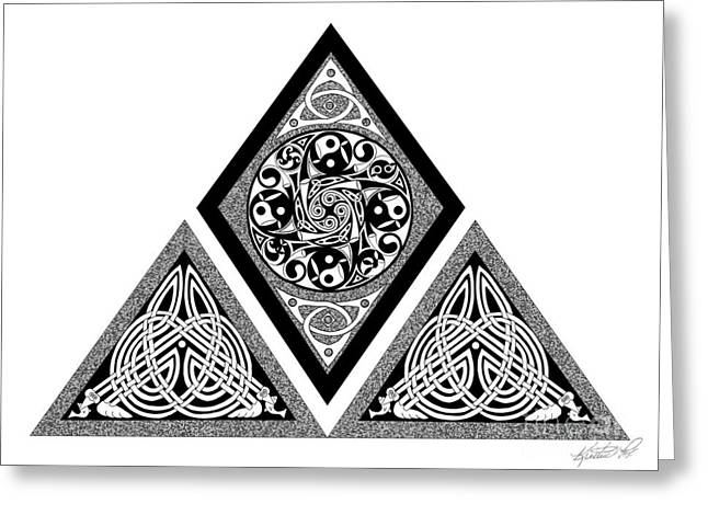 Greeting Card featuring the mixed media Celtic Pyramid by Kristen Fox