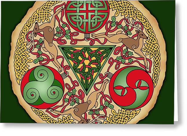 Greeting Card featuring the mixed media Celtic Reindeer Shield by Kristen Fox