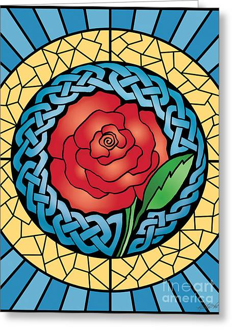 Greeting Card featuring the mixed media Celtic Rose Stained Glass by Kristen Fox
