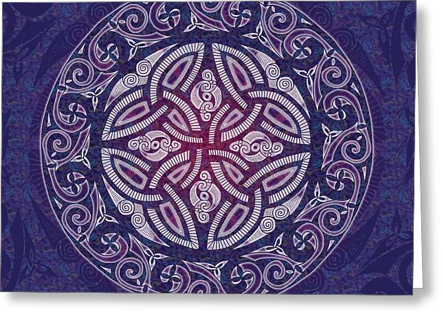 Greeting Card featuring the mixed media Celtic Shield by Kristen Fox