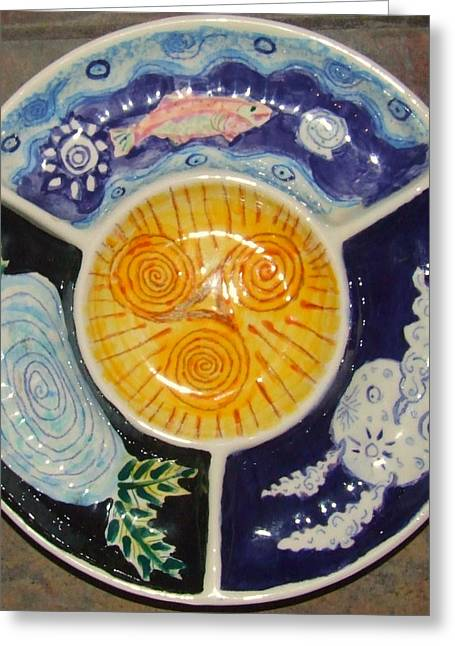Moon Ceramics Greeting Cards - Celtic Spiral Chip and Dip Greeting Card by Angela Annas