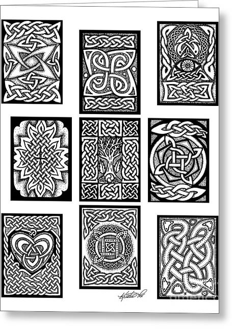 Greeting Card featuring the drawing Celtic Tarot Spread by Kristen Fox