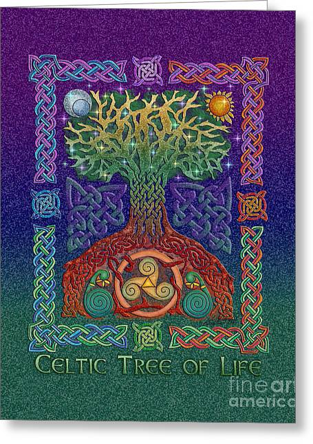 Greeting Card featuring the mixed media Celtic Tree Of Life by Kristen Fox