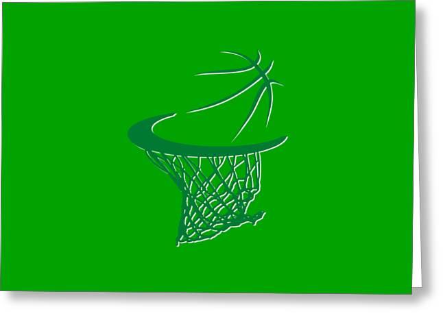 Celtics Basketball Hoop Greeting Card by Joe Hamilton