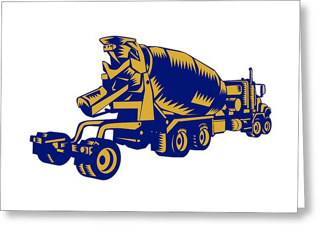 Cement Truck Rear Woodcut Greeting Card by Aloysius Patrimonio