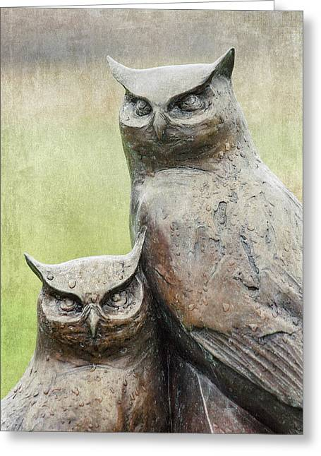 Cemetery Art Two Owls In The Rain Greeting Card
