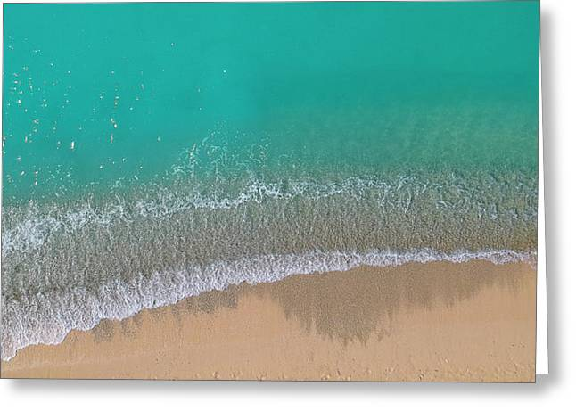 Greeting Card featuring the photograph Cemetery Beach Aerial Panoramic by Adam Romanowicz