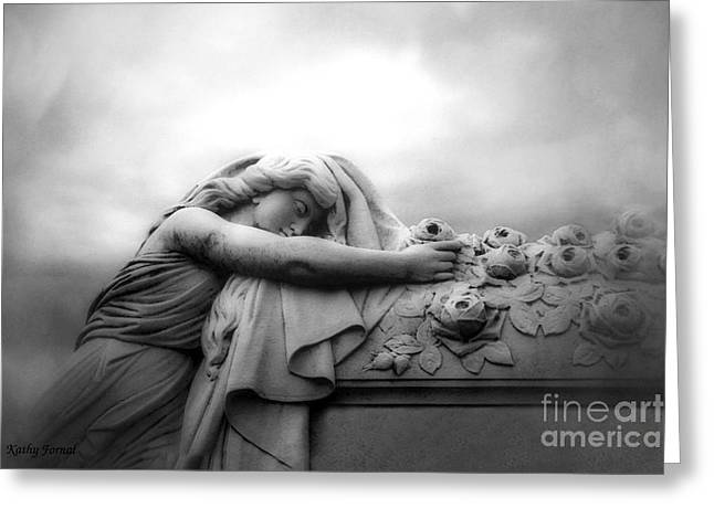 Greeting Card featuring the photograph Cemetery Grave Mourner Black White Surreal Coffin Grave Art - Angel Mourner Across Rose Coffin by Kathy Fornal