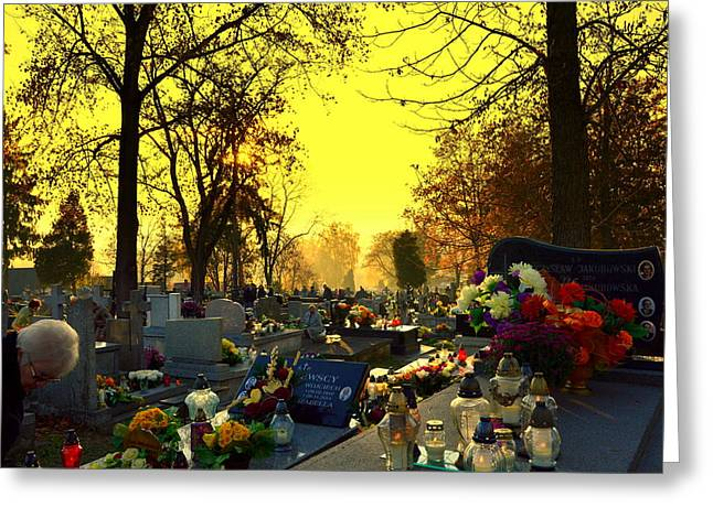 Cemetery In Feast Of The Dead Greeting Card